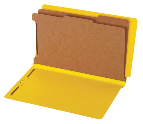 (Globe-Weis/Pendaflex End Tab Classification Folders, 2 Dividers, 2-Inch Embedded Fasteners, Legal Size, Yellow, 10 Folders Per Box (39789))
