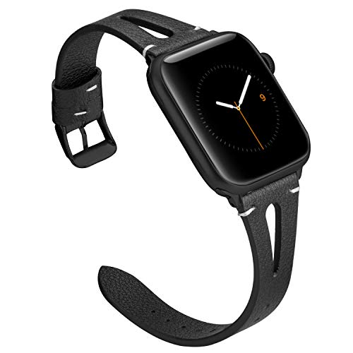 Wearlizer Black Leather Bands Compatible with Apple Watch Straps 38mm 40mm iWatch Womens Mens Special Triangle Hole Wristband Sport Replacement Bracelet (Metal Black Buckle) Series 4 3 2 1 Edition