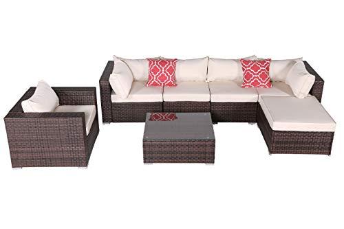 Do4U Patio Sofa 7-Piece Set Outdoor Furniture Sectional All-Weather Wicker Rattan Sofa Beige Seat Back Cushions, Garden Lawn Pool Backyard Outdoor Sofa Wicker Conversation Set 4015-MIX-BEG