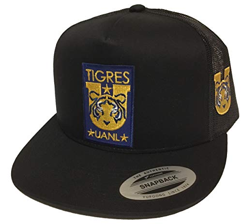 Mexico Tigres UANL Soccer Hat 2 Logos Hat Black mesh