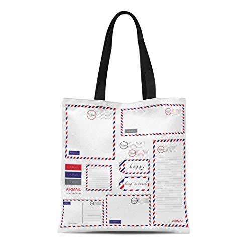 Semtomn Canvas Tote Bag Shoulder Bags Postal Blue Mail Airmail Stationery Letter Envelope Red International Women's Handle Shoulder Tote Shopper Handbag
