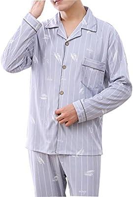 Mens pijamas de algodón para hombre Loungewear conjunto ropa de dormir de algodón conjunto de longitud completa caballeros nuevos estilos, 1, L