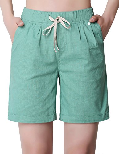 ZANLICE Women's Relaxed Elastic Waist Bermuda Shorts With Drawstring L (Juniors Drawstring Bermuda Shorts)