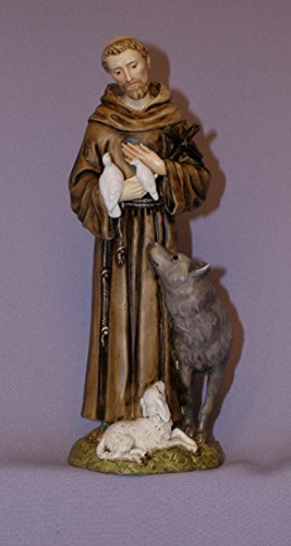 St. Francis with animals in hand-painted alabaster, 6 inches. Also available in all white. Made in Italy. by GSV001