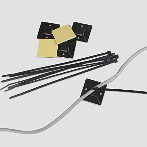 Amariver Cable Zip Ties Cable Tie Mount Base Holders, 100 Pack Adhesive Cable Tie Mount Base Holders with 100 Pieces Nylon Cable Zip Ties for Home, Office and Car (Extra Large, Black) by Amariver (Image #1)