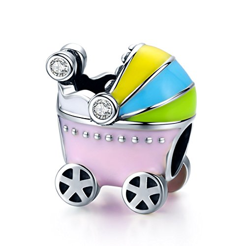 Pink Baby Carriage Charm 925 Sterling Silver Pram Charm Beads for Diy Charms Bracelet & Necklace