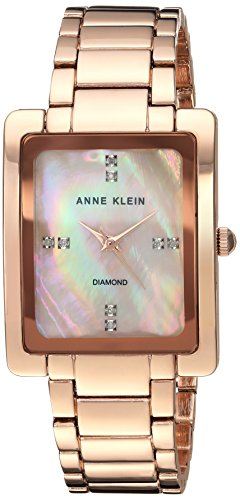 Ak Anne Klein Mother Of Pearl Dial Watch (Anne Klein Women's AK/2788RMRG Swarovski Crystal Accented Rose Gold-Tone Bracelet Watch)