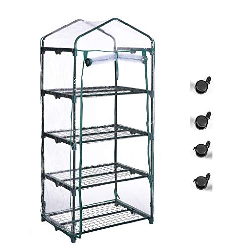 Superday Mini Greenhouse 4 Tier Portable Garden Green House Shelves for Outdoor Indoor w Cover Wheel and Roll-Up Zipper Door Grow Seeds,Seedlings, Tend Potted Plants
