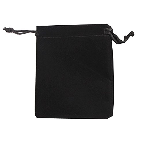 """Ximkee 50 Pieces Wholesale Lot - Black Velvet Cloth Jewelry Pouches / Drawstring Bags 3"""" X 4"""" (25, Black) from Ximkee"""