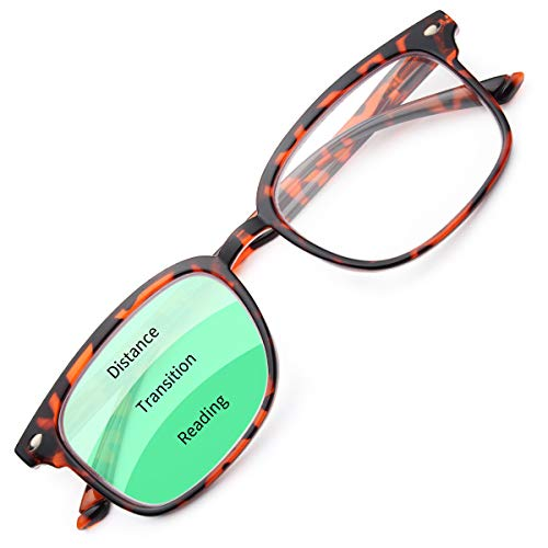 Gaoye Progressive Multifocal Reading Glasses Blue Light Blocking for Women Men,No Line Multifocus Readers with Spring Hinge (Tortoise-Leopard, 100)