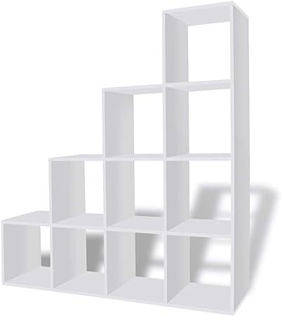 vidaXL Estantería para Libros en Forma de Escalera con Dimensiones 142 cm Color Blanca: Amazon.es: Hogar