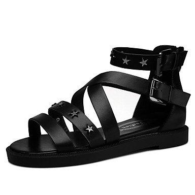 FYios Zapatos de mujer planos sintéticos talón peep toe sandalias Boda/Oficina &Amp; Carrera/vestimenta casual/Negro/Plata US8.5 / EU39 / UK6.5 / CN40