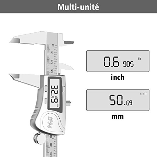 Digital Caliper, LIUMY Professional 6''/150mm Electronic Digital Vernier Caliper with LCD Screen, IP54 Water Resistant and Inches and Metric Easy for Measurement Work silver white Photo #5