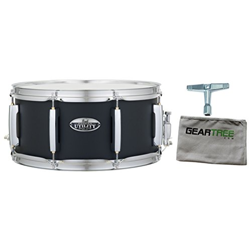 (Pearl MUS1465M227 Modern Utility 14x6.5 Maple Snare Drum (Satin Black) w/Geartr)