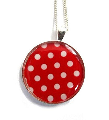 Red and white polka dot necklace, polka dot jewelery, retro polka dot necklace, polka dots, gift for her, red, white (Polka Tray Dots White)