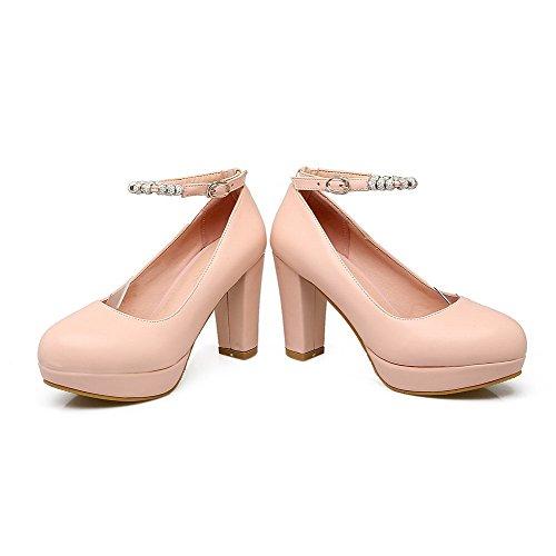 Solide Rosa Pompe Fibbia Delle Chiusa tacchi Donne Allhqfashion Fbudd011625 Alti Rotonda scarpe Punta BqvPxwBA