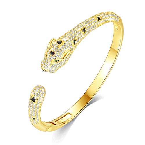 VICISION Women Statement Panther Bracelet Cuff Bangle Gold Plated Cubic Zirconia Fashion Fine Jewelry Accessories 1 Piece- VB11 Gold