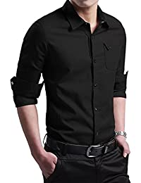 Men's Military Slim Fit Dress Shirt Casual Long Sleeve Button Down Shirts