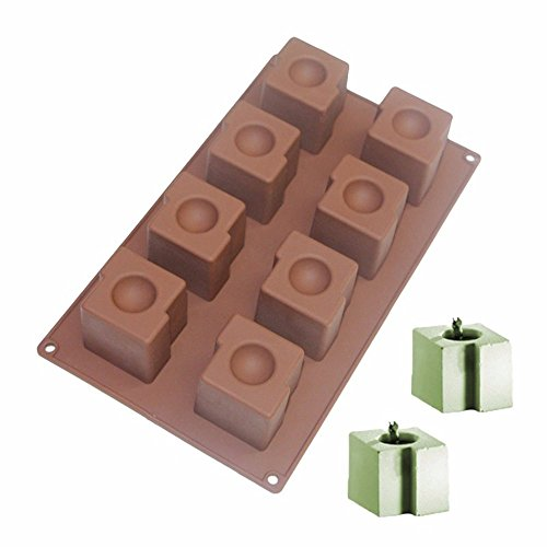 New Arrival 8-Cavity Square Circular Dessert Mousse Mold Silicone Molds for Ice, Muffin, Soap, Brownie, Cheesecake and Pudding (Color: Sent by random)