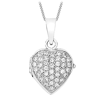 Carissima gold 9ct white gold cubic zirconia heart locket and curb carissima gold 9ct white gold cubic zirconia heart locket and curb chain necklace of 46cm mozeypictures Images