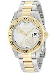 Invicta Womens 12287 Pro Diver Silver Heart Dial Two Tone Stainless Steel Watch