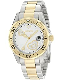 Invicta Women's Pro Diver Silver Heart Dial Two Tone Stainless Steel Watch INVICTA-12287