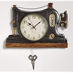 The Lakeside Collection Retro Sewing Machine Pendulum Wall Clock