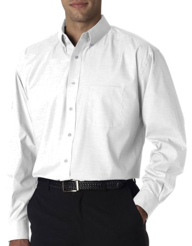 UltraClub Mens Long-Sleeve Performance Pinpoint (U8360) -White -XL