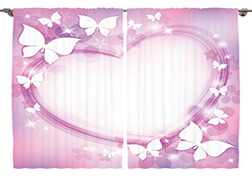 Ambesonne Teen Girls Kids Room Decor Collection, Abstract Colorful Pink Butterfly Heart Romantic Love Violet Wedding Art, Window Treatments for Kids Bedroom Curtain 2 Panels Set, 108X63 Inches