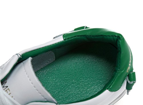 YCMDM delle nuove donne del cuoio genuino piccole scarpe bianche in pizzo pattini piani casuali scarpe sportive singole primavera e l'estate , green , 40