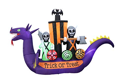 Blow Up Halloween Pirate Ship (BZB Goods 11 Foot Long Halloween Inflatable Dragon Pirate Ship Skeletons Scene Bat Ghosts Lights Lighted Blowup Party Decoration for Outdoor Indoor Home Garden LED Prop Yard Blow Up Lawn)