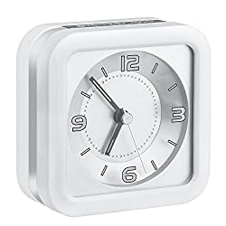 Kaimao Loud Melody Alarm Clock Non Ticking with Snooze and Backlight, AA Battery Powered Quartz Analog Clocks for Home and Travel (White)