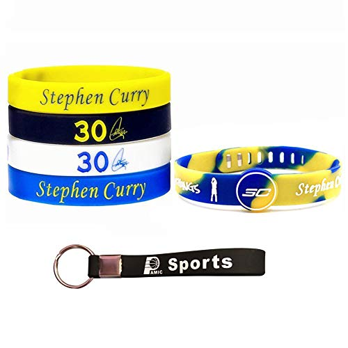 Basketball Silicone Wristband Bracelet -4 or 5PCS Assorted Color - One of The Five is Adjustable (Curry3030) (Shoes Boys 12 School Grade Lebron)