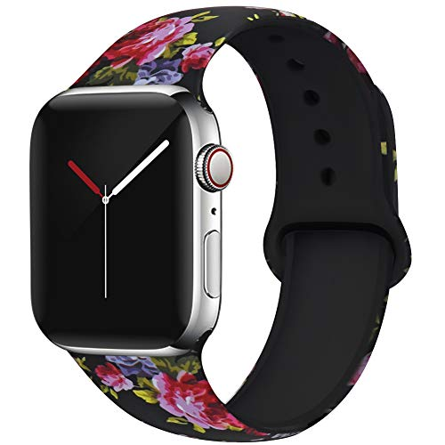 OriBear Compatible with Apple Watch Band 40mm 38mm Elegant Floral Bands for Women Soft Silicone Solid Pattern Printed Replacement Strap Band for IwatchSeries 4/3/2/1 S/M Gorgeous Flowers