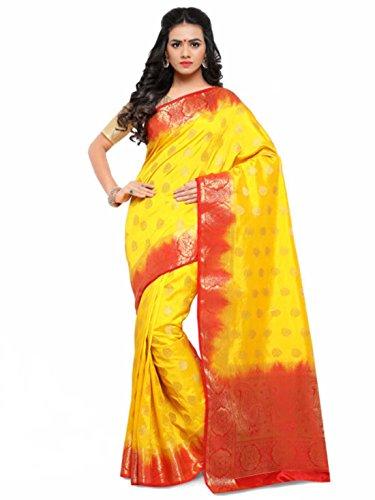 Indian Saree Woven Poly Export Kanjeevaram Design amp; Satrani Yellow Handicrfats Silk Red UPxqrUw
