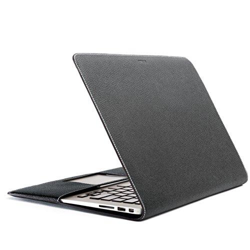 ZENDO MacBook Air 13'' Leather Cover (Full-Grain Shrunken Calf Leather) | PRIMO Luxury Full-Grain Leather [MacBook Air 13'' | BLACK] by Zendo