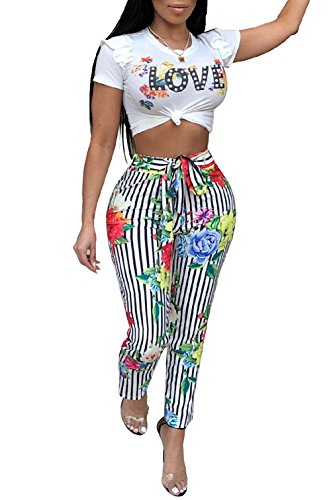 DingAng Women Floral Short Sleeve Crop Top Letter Print Long Pants 2 Piece Outfits Jumpsuit with Belt -