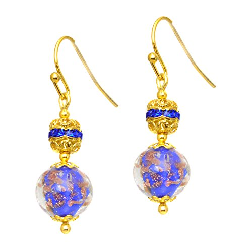 Just Give Me Jewels Genuine Venice Murano Sommerso Aventurina Glass Bead and Rhinestone Dangle Earrings - Blue