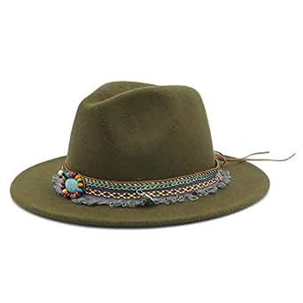 SHENTIANWEI Men Women Winter Wool Fedora Hat with Tassel Ribbon Panama Jazz Hat Wide Brim Hat Fascinator Size 56-58CM (Color : Army Green, Size : 56-58)