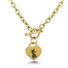 Stainless Steel Disney Frozen Olaf Heart Charm Bracelet & Necklace