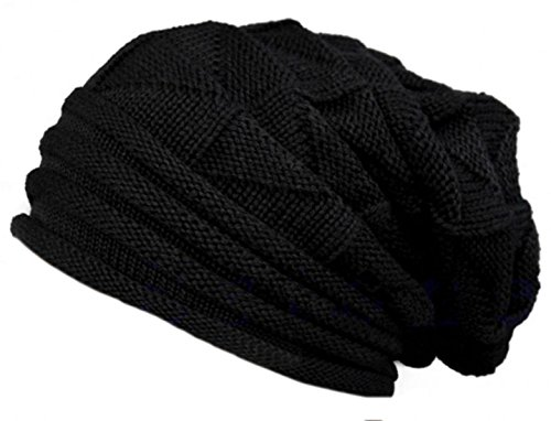 cruiize-winter-warm-baggy-chunky-ski-knit-braided-skully-beanie-hat-black