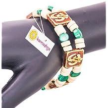 Karmashya Tulsi Tulasi Bead Om Aum Malachite Band Bracelet Wrist Band Hindu Wristband Mala