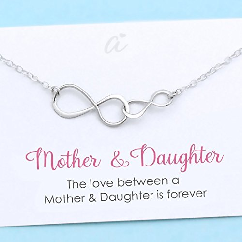 Handmade baby gift amazon mother and daughter necklace sterling silver double infinity personalized gift birthday christmas wedding infinite love negle Images