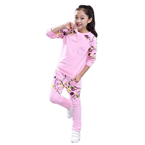 FTSUCQ Girls Sports Tracksuits Floral Printed Sweatershirt Coat + Pants,Pink - Boxing Brisbane Sales Day