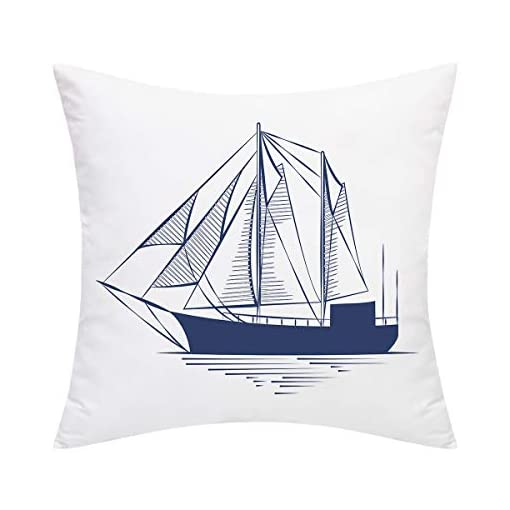 Sailing Into Summer Beach Sea Shell Sail Boat Tapestry Fabric Throw Pillow Panel