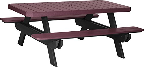 LuxCraft 6′ Poly Rectangular Picnic Table (Earthtone – Cherrywood & Black)