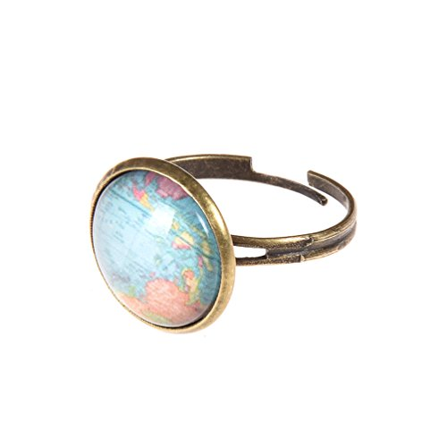 Glass Dome Ring - Vintage Globe World Map Ring Alloy Adjustable Glass Dome Unisex Bronze Ring 1 Pc