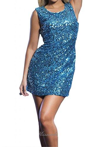Toscana sposa Exquisit rotondo collo corto Paillette danza Cocktail abiti da sera festa abiti da sposa stanotte mode blu 44