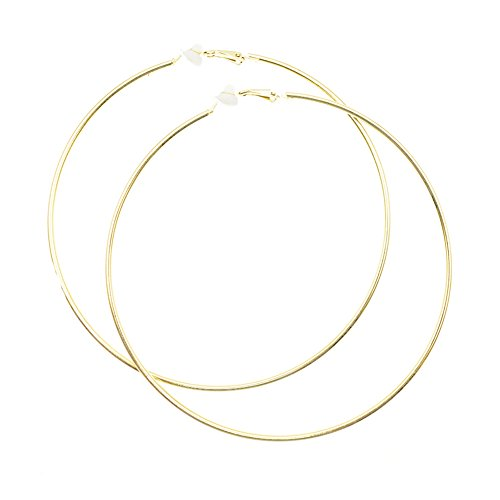 Extra Large Non Pierced Earrings for Women Men - Big Round Circle Clip On Huggie Hoop Earrings Hypoallergenic (Gold)