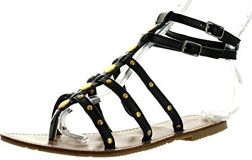 Sandali Moda Donna Gladiator Sunville Neri